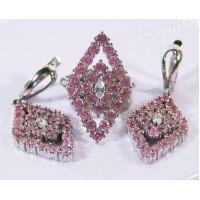 Комплект с родиевым покрытием Розовые Цирконы - Звездопад ромб
