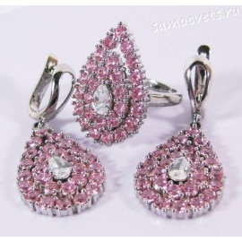 Комплект Розовый Циркон - Звездопад капля