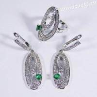 Комплект с фианитами Серьги Кольцо - зелёный кристаллик