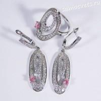 Комплект с фианитами Серьги Кольцо - розовый кристаллик