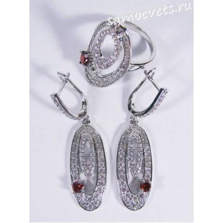 Комплект с фианитами Серьги Кольцо - красный кристаллик