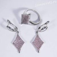 Комплект с фианитами серьги и кольцо ромб - розовый