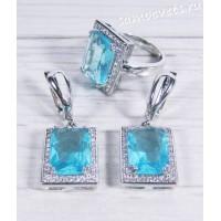 Комплект голубые кристаллы (голубой топаз) - Гузель