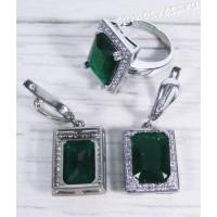 Комплект зелёные кристаллы (Изумруд) - Гузель