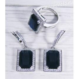 Комплект тёмно - синие кристаллы (сапфир) - Гузель