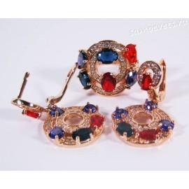 Комплект с Разноцветными Цирконами Позолота