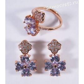 Комплект с Фиолетовым (цвет Аметрин) Цирконом Позолота Клевер