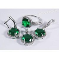 Комплект (серьги + кольцо + подвеска) Зелёные Кристаллы (Изумруд)