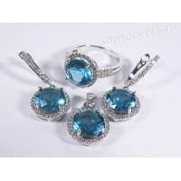 Комплект (серьги + кольцо + подвеска) голубые кристаллы (цвет аквамарин)