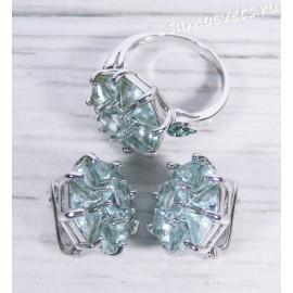 Комплект серьги + кольцо циркон (под аквамарин)