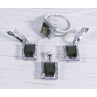Комплект серьги + кольцо + подвеска коричневые кристаллы (цвет раухтопаз)