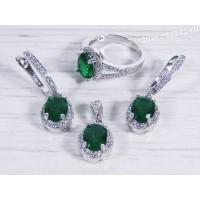 Комплект (серьги + кольцо + подвеска) зелёные кристаллы овал