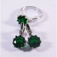 Комплект с Зелёным Фианитом (Изумруд) родиевое покрытие - Лейла