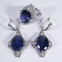 Комплект синие кристаллы - ромб