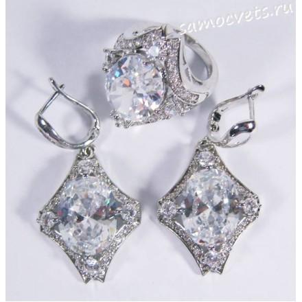 Комплект белые кристаллы (фианит) - ромб
