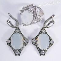 Комплект кристаллы (под лунный камень) - родиевое покрытие
