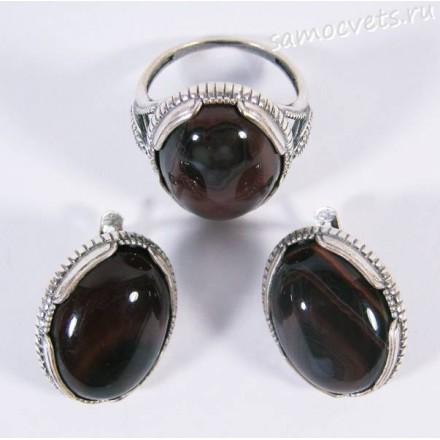 Комплект кольцо + серьги Коричневый Агат Айнур