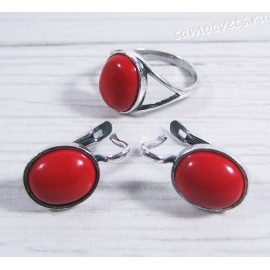 Комплект серьги + кольцо коралл искусств. - Наз