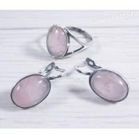 Комплект серьги + кольцо розовый кварц - Наз