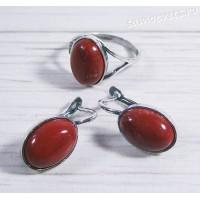 Комплект серьги + кольцо красная яшма - Наз