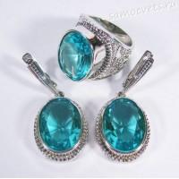 Комплект с голубой кристалл (под топаз) - Айнур
