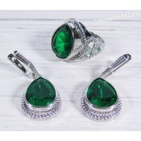 Комплект зелёные кристаллы (цвет изумруд) - Айнур