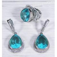 Комплект с кристаллами голубой (цвет аквамарин) - Айнур