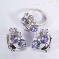 Комплект белые и фиолетовые цирконы