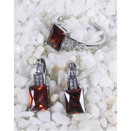 Комплект с кристаллами (цвет гранат) - геометрия