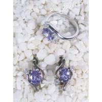 Комплект с фиолетовыми  кристаллами (цвет аметрин) - скромность