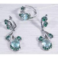 Комплект с голубыми и зелёными кристаллами - Гулия