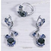 Комплект с чёрными и синими кристаллами - Гулия
