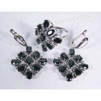Комплект (серьги + кольцо) чёрные кристаллы ромб