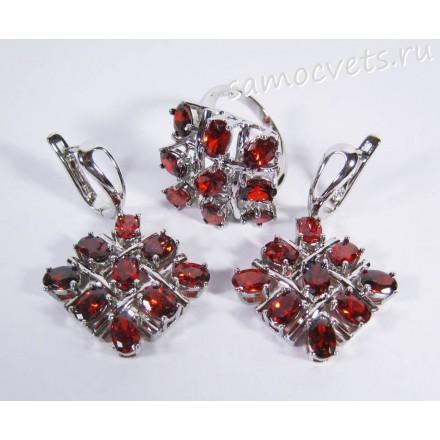 Комплект (серьги + кольцо) красные кристаллы ромб