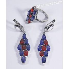 Комплект (серьги и кольцо) красные и фиолетовые кристаллы ромб