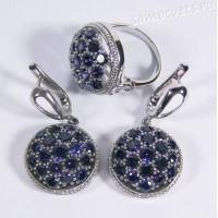 Комплект с родиевым покрытием - синие кристаллы