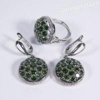 Комплект с родиевым покрытием - зелёные кристаллы