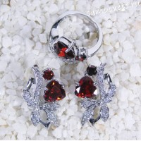 Комплект красно-оранжевые кристаллы (гранат) - Айбике
