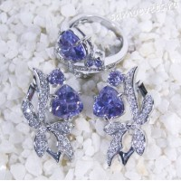 Комплект фиолетовые кристаллы (под аметист) - Айбике