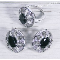 Комплект чёрный (цвет шпинель) Фианит - Тавис