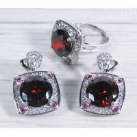 Комплект красным (цвет гранат) фианитом - Тавис