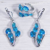 Комплект голубой фианит (цвет аквамарина) -  Айнур