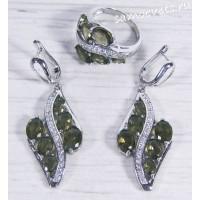 Комплект серый фианит (цвет раухтопаз) -  Айнур