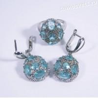 Комплект голубые кристаллы (под топаз) - родиевое покрытие