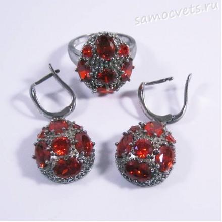 Комплект красные  кристаллы - родиевое покрытие