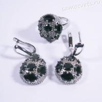 Комплект чёрные кристаллы (под шпинель) - родиевое покрытие