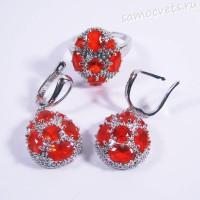 Комплект ярко-красные кристаллы - родиевое покрытие