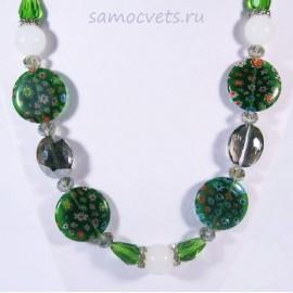 Колье Муранское стекло цветочки Зелёное