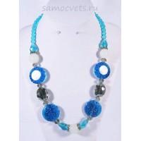 Колье Муранское стекло цветочки Синее