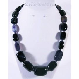Колье натуральный Тёмно - Фиолетовый Агат крупные камни